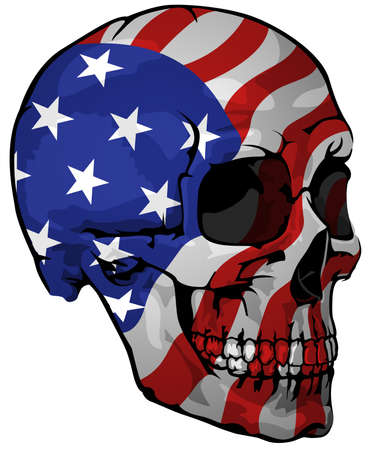 America Flag Painted on a Skull - Design Element with National Colors for Your Graphic Illustrations Isolated on White Background, Vector