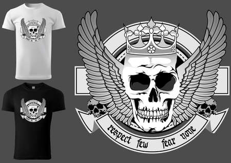 T-shirt Design Skull with Royal Crown and Wings and Decorative Banner - Black and White Illustration Isolated on Gray Background, Vector