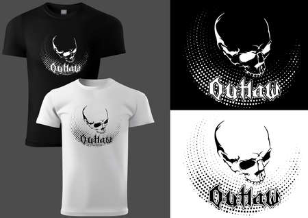 T-shirt Design with a Skull in Black and White - Simple Graphic Design with Halftone Decoration Isolated on White and Black Background, Vector Illustration