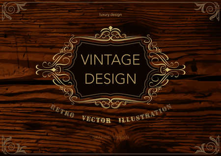 Golden Frame Template on Wooden Background - Colored Illustration for Luxury Logos or Restaurant or Hotel and More Designs, Vector
