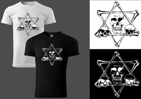 T-shirt Design with a Skull and a Pentagram of Bones - Black and White Illustration with Print on White and Black Textile, Vector