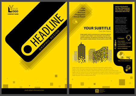 Modern Design of a Yellow-black Leaflet - Simple Graphic Style with Elegant Geometric Shapes on a Distinctive Yellow Background, Vector