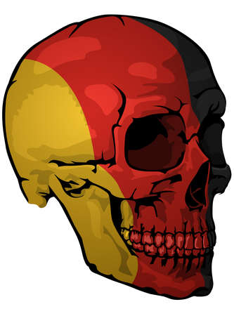 German Flag Painted on a Skull - Design Element with National Colors for Your Graphic Illustrations Isolated on White Background, Vector Illusztráció
