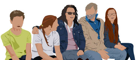 Parents with Three Children as a Family - Colored Illustration Isolated on White Background, Vector Illusztráció