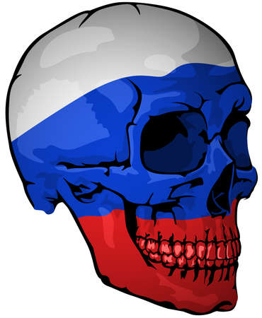 Russian Flag Painted on a Skull - Design Element with National Colors for Your Graphic Illustrations Isolated on White Background, Vector