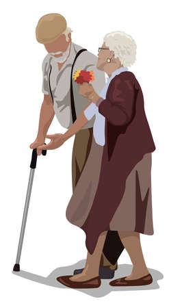 Grandfather with Cane and Grandmother - Senior Couple on a Walk as Color Illustration Isolated on White Background, Vector
