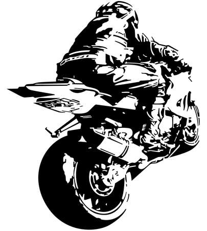 Motorcyclist on Motorcycle Drawing - Black and White Drawing Illustration Isolated on White Background, Vector Vetores