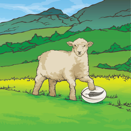 Vector color image of sheep in the background of the nature New Zealand Rugby Ball