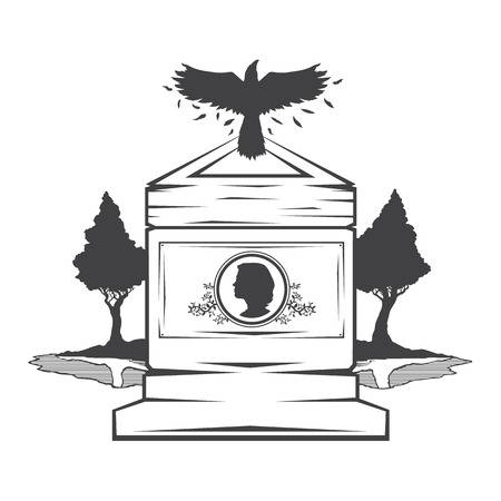 cameo: Vector isolated image of contour the grave gravestone monument depicting the profile of woman. Headstone for print and web design funeral services. Burial and funeral . Crow, the raven.Pines tree.Lake or pond