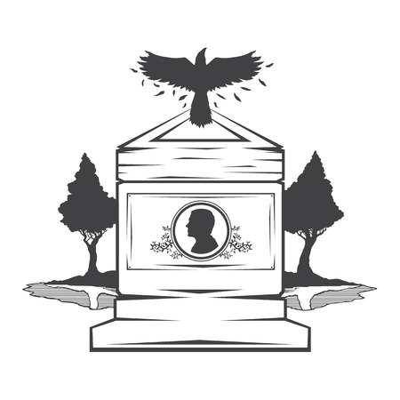 burial: Vector isolated image of contour the grave gravestone monument depicting male profile. Headstone for print and web design funeral services. Burial and funeral . Crow, the raven.Pines tree.Lake or pond Illustration