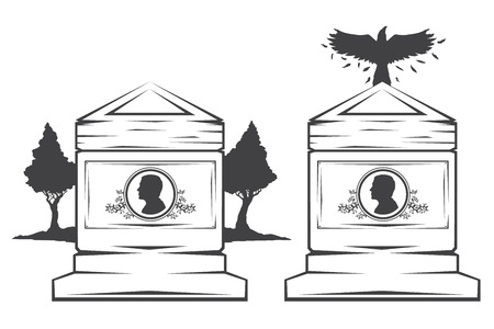 headstone: Vector isolated image of contour the grave gravestone monument depicting male profile. Headstone for print and web design funeral services. Burial and funeral . Crow, the raven.Pines tree