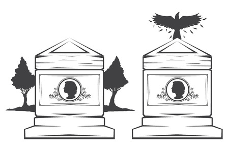 cameo: Vector isolated image of contour the grave gravestone monument depicting the profile of woman. Headstone for print and web design funeral services. Burial and funeral . Crow, the raven.Pines tree