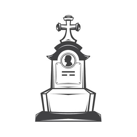 memorial cross: Vector de imagen aislada del contorno de la lápida lápida que representa el perfil masculino. Lápida para los servicios de impresión y diseño web funerarios. Entierro y funeral