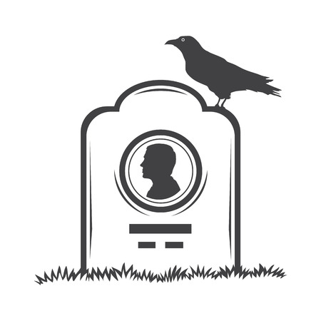 headstone: Vector isolated image of contour the grave gravestone monument depicting male profile. Headstone for print and web design funeral services. Burial and funeral . Crow, the raven