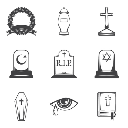 obituary: Vector isolated image burial, headstones, graves, funerals and cemeteries. Monochrome line symbols of sorrow and grief. Funeral services and printing. Set of 9 graphic icons Stock Photo