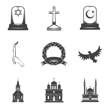 grief: Vector isolated image burial, headstones, graves, funerals and cemeteries. Monochrome line symbols of sorrow and grief. Funeral services and printing. Set of 9 graphic icons Stock Photo