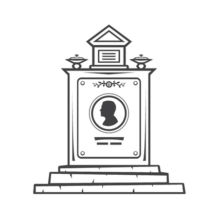 cameo: Vector isolated image of contour the grave gravestone monument depicting male profile. Headstone for print and web design funeral services. Burial and funeral Illustration