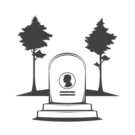 Vector isolated image of contour the grave gravestone monument depicting male profile. Headstone for print and web design funeral services. Burial and funeral . Pines