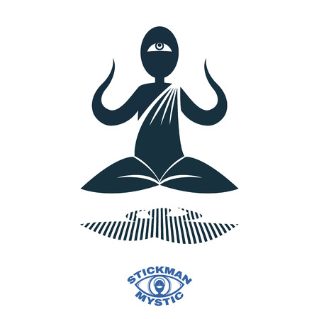 eastern spirituality: Vector image silhouettes Yoga meditating in the lotus position. Illustration