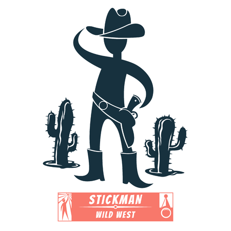 Vector image of a cowboy hat and a holster. Silhouette for a logo or symbol. Background with cactus