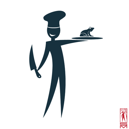 frenchman: Vector Image chef cook stisk figure and cooked them meals  Frenchman, frog, chefs hat,knife