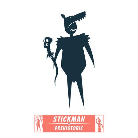 shaman: Vector Image stick figure silhouette shaman wolf head Illustration