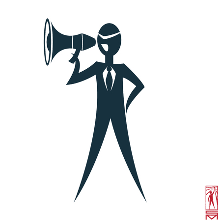 basic figure: Man Person Basic body position Stick Figure Icon silhouette vector sign,businessman tie,the symbol of power, megaphone, shouting, command, head Illustration
