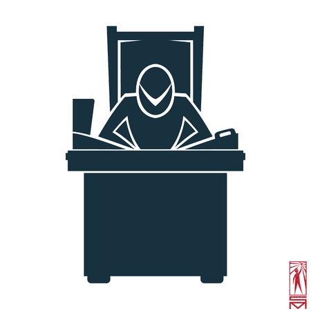 basic figure: Man Person Basic body position Stick Figure Icon silhouette vector sign,businessman,, symbol of power, thought, creative, head, brain center, laptop, telephone selector, table, chair, throne, workplace, boss, the head of the organization