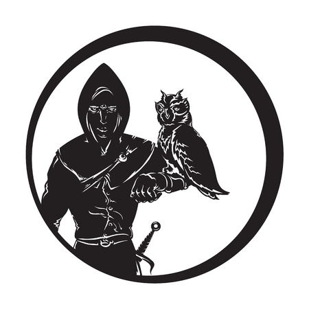 huntsman: Vector isolated image of a medieval huntsmen in hoodie and a dagger on his arm sits an owl Illustration