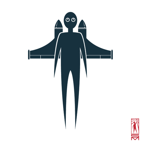 basic figure: Man Person Basic body position Stick Figure Icon silhouette vector sign,rocket, rocket man, a rocket pack, flying, pilot, fly, take off, glasses.Rocket man in flight