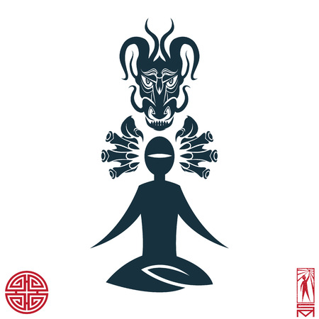 qi: Man Person Basic body position Stick Figure Icon silhouette vector sign,feng shui, china, oriental, dragon, force, energy, Taoism, Qi energy, meditation, enlightenment, path.Character meditating dragon