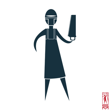 basic figure: Man Person Basic body position Stick Figure Icon silhouette vector sign,doctor, surgeon, saw mask, apron.character with a saw doctor