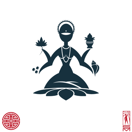 lakshmi: Man Person Basic body position Stick Figure Icon silhouette vector sign,feng shui, china, oriental, goddess of abundance, prosperity, wealth, good fortune and happiness Lakshmi, the lotus, shells, coins.Goddess Lakshmi is meditating in the lotus position. Illustration
