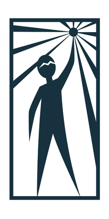 Man Person Basic body position Stick Figure Icon silhouette vector sign,  the North Star, Prometheus, star, rays, a symbol of hope, a star in the hand.Character is holding a star in his hand. Illustration