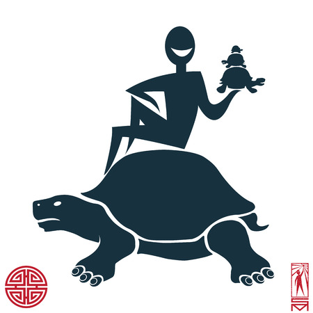 enlightenment: Man Person Basic body position Stick Figure Icon silhouette vector sign,feng shui, china, oriental, power, energy, Taoism, Qi energy, meditation, enlightenment, path, turtle, three turtles.The character on the shell of the turtle