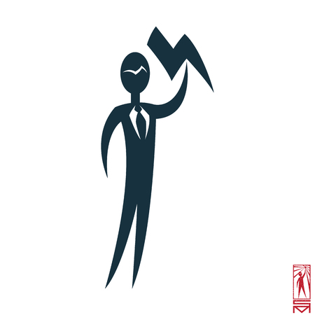 Man Person Basic body position Stick Figure Icon silhouette vector sign,businessman, tie, a symbol of power, lightning, command, head