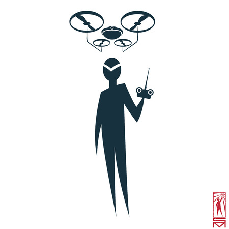 basic figure: Man Person Basic body position Stick Figure Icon silhouette vector sign,pilot, drone, drone, remote control, control, flight, launch, navigation, intelligence.Character with soaring drone