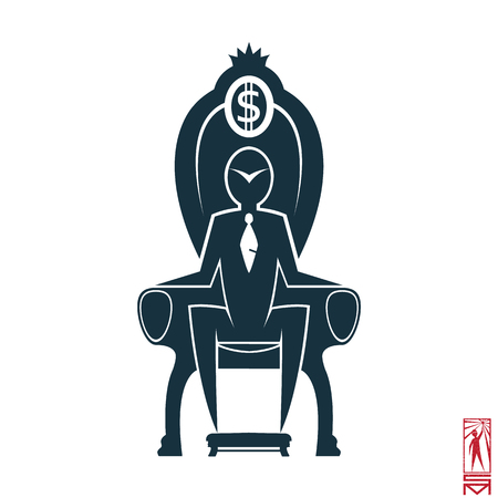 basic figure: Man Person Basic body position Stick Figure Icon silhouette vector sign,businessman, tie, the chair, the throne, the dollar, a symbol of power, the crown