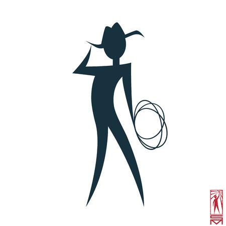 Man Person Basic body position Stick Figure Icon silhouette vector sign,cowboy, hero, macho, cowboy hat, lasso, wild west, Texan Vetores