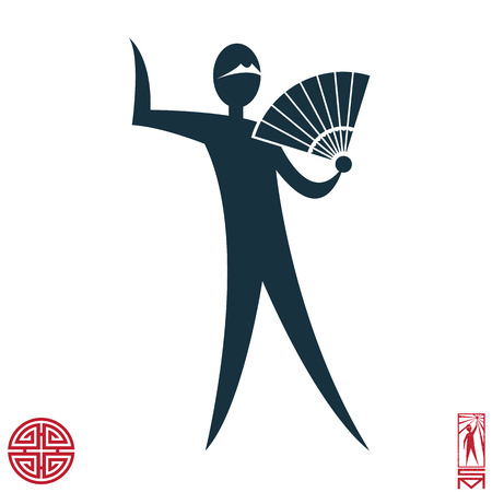 basic figure: Man Person Basic body position Stick Figure Icon silhouette vector sign,feng shui, china, oriental, fan Illustration