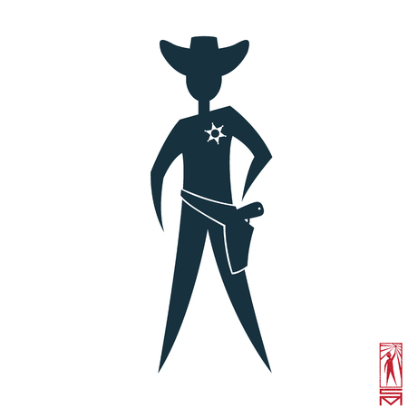 Man Person Basic body position Stick Figure Icon silhouette vector sign,sheriff