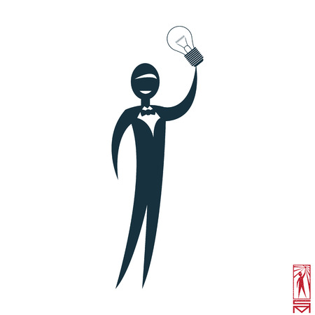 basic figure: Man Person Basic body position Stick Figure Icon silhouette vector sign,Businessman, bow-tie, a symbol of power, idea, thought, think of genius, light, Eureka, creative Illustration