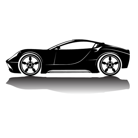 Auto-Silhouette in Schwarz mit details.Vector isoliert Auto Silhouette Bild. Schwarze Silhouette. Auto mit Reflexion