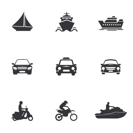 merchant: character set of  transportation, merchant ships, car, scooter, jet ski, water bike, motorcycle, motocross bikes, cross,sailboat, yacht