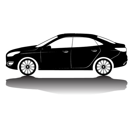 sportcar: car silhouette in black with details.Vector isolated car silhouette image. Black silhouette. Car with reflection Illustration