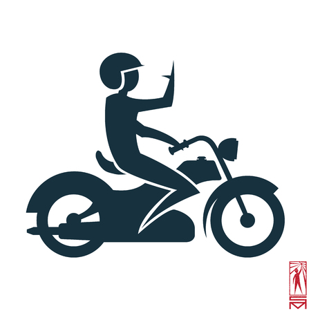 basic figure: Man Person Basic body position Stick Figure Icon silhouette vector sign,biker, bike, helmet, rider, racer, motorcycle