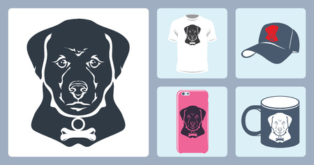 head collar: Vector isolated image of the dogs head. To print on a T-shirt, baseball cap, mug, a case for the phone. The bone on the collar.