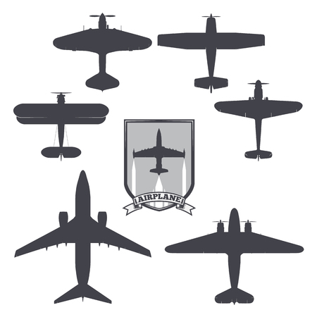 vector image of silhouettes of planes from different eras and countries. coat of arms on the background of the airplane card Illustration