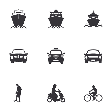 velocipede: character set of  of transportation, merchant ships, car, bicycle, scooter, skateboard Illustration