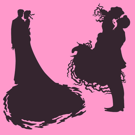 wed beauty: silhouette of newlyweds hugging each.wedding loving couple